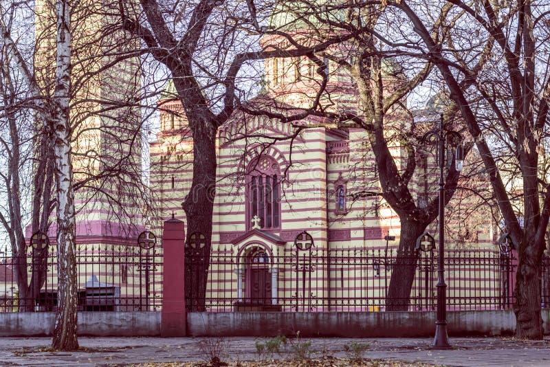 Alberi intorno alla chiesa di Ortodox immagine stock