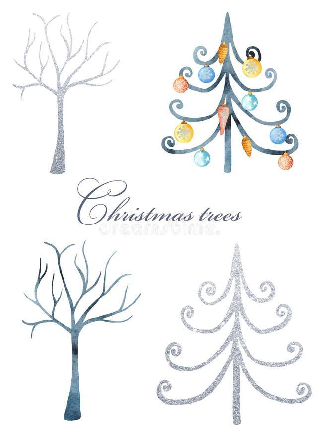 Alberi magici dell'argento e dell'acquerello di inverno Illustrazione degli abeti e degli alberi su un fondo bianco illustrazione di stock
