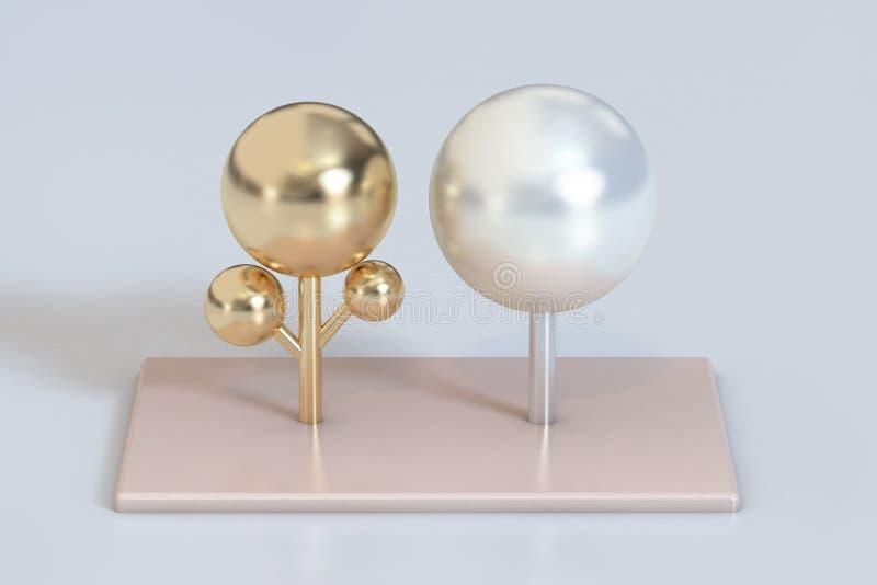 Alberi metallici 3d dell'oro lucido bianco astratto della perla rendere illustrazione di stock