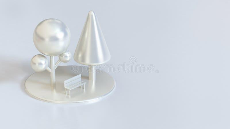 Alberi metallici lucidi della perla bianca con la natura della sedia, concetto 3d dei parchi rendere royalty illustrazione gratis