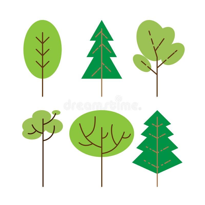 Alberi piatti fissati La pianta piana della natura dell'albero forestale ha isolato il fogliame di eco royalty illustrazione gratis
