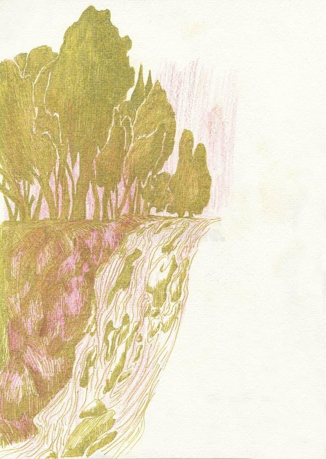 Alberi sulla scogliera alla cascata, disegnante illustrazione di stock