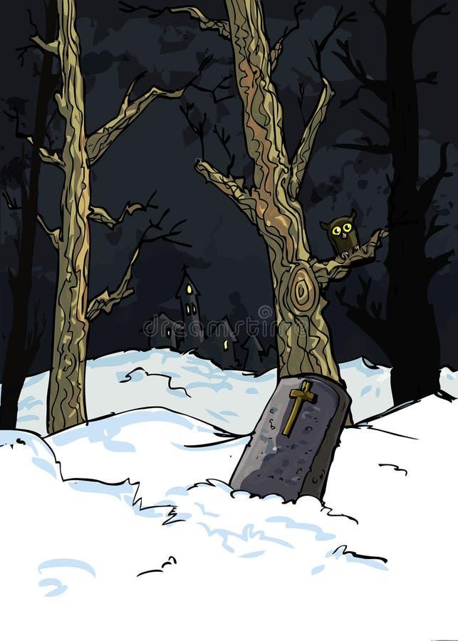 Alberi terrificanti in un cimitero royalty illustrazione gratis