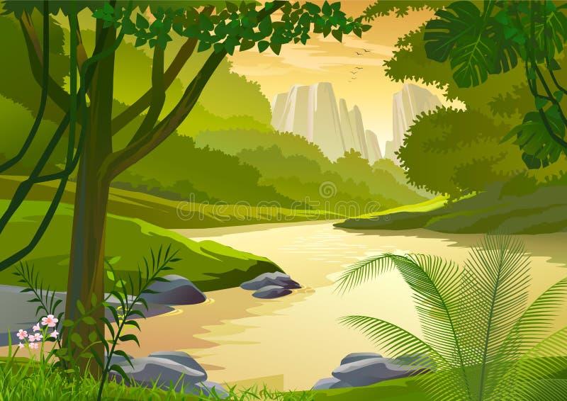 Alberi tropicali della foresta pluviale e flusso dell'acqua dolce illustrazione di stock