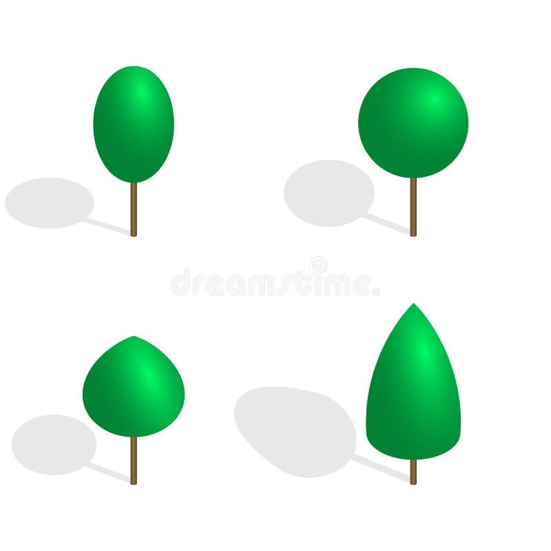 Alberi verdi in 3D, illustrazione di vettore illustrazione di stock