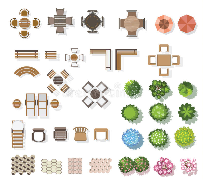 Alberi vista superiore, mobilia, pavimento, per paesaggio Vettore illustrazione di stock