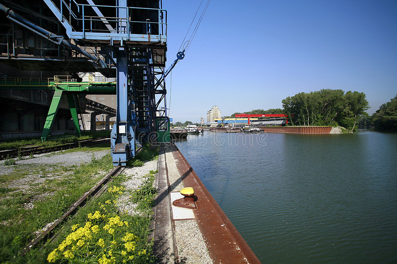 Alberner port, Vienna. Port area in the spring photographed royalty free stock image
