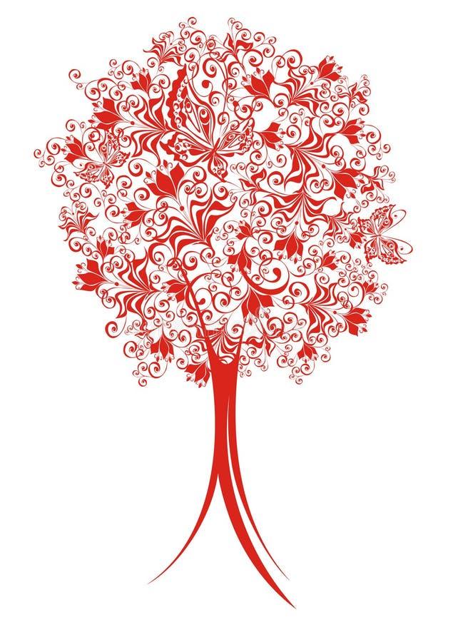 Albero astratto con gli elementi floreali illustrazione di stock