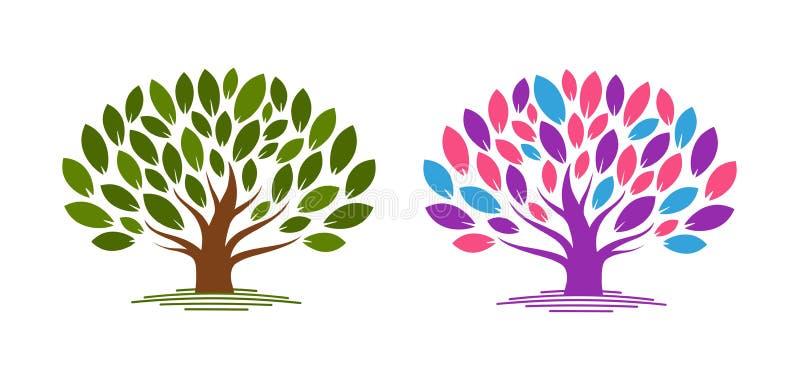 Albero astratto con i fogli Ecologia, eco, icona della natura dell'ambiente o logo Illustrazione di vettore royalty illustrazione gratis