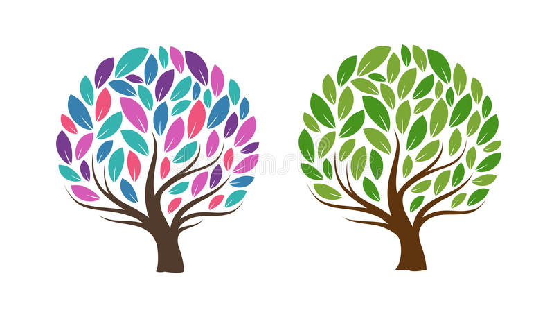 Albero astratto con i fogli Ecologia, prodotto naturale, icona o logo Illustrazione di vettore royalty illustrazione gratis