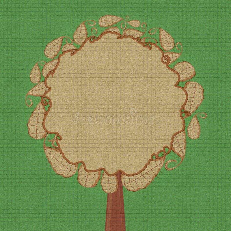 Albero astratto con la parte superiore rotonda del foglio illustrazione di stock