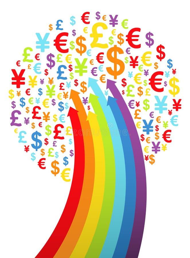 Albero astratto dei soldi dell'arcobaleno illustrazione di stock