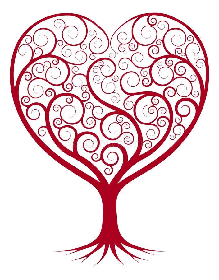 Albero astratto del cuore illustrazione vettoriale