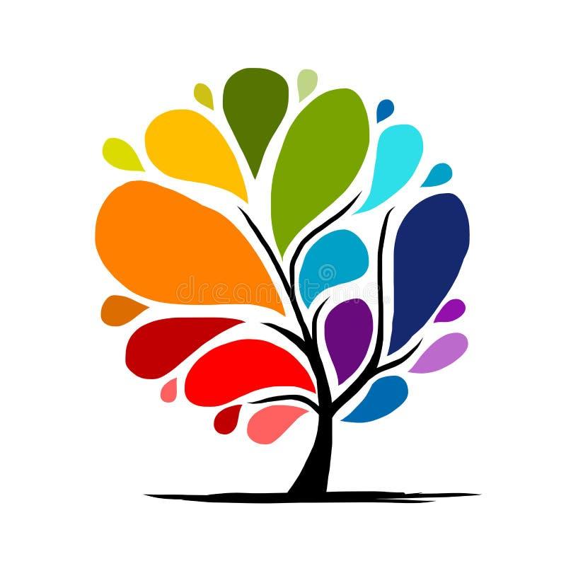 Albero astratto dell'arcobaleno per la vostra progettazione illustrazione vettoriale