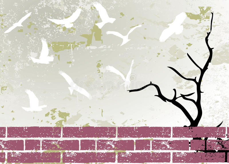 albero astratto della siluetta del quadro televisivo del grunge dell'uccello illustrazione vettoriale