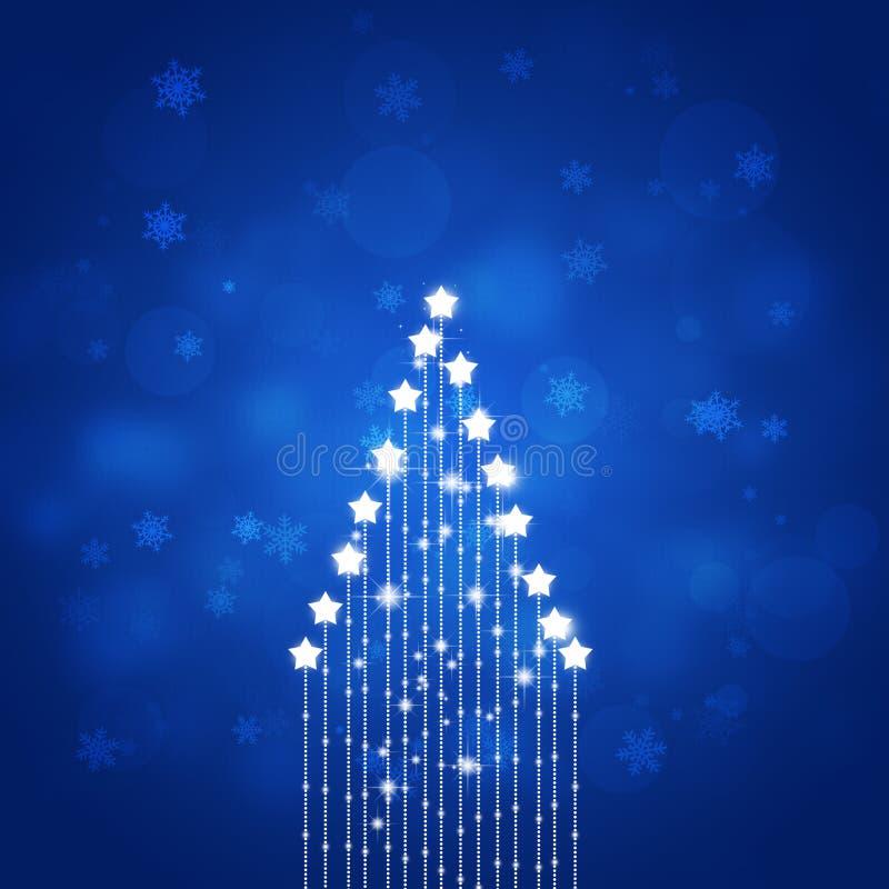 Albero astratto della stella di natale del blu illustrazione di stock