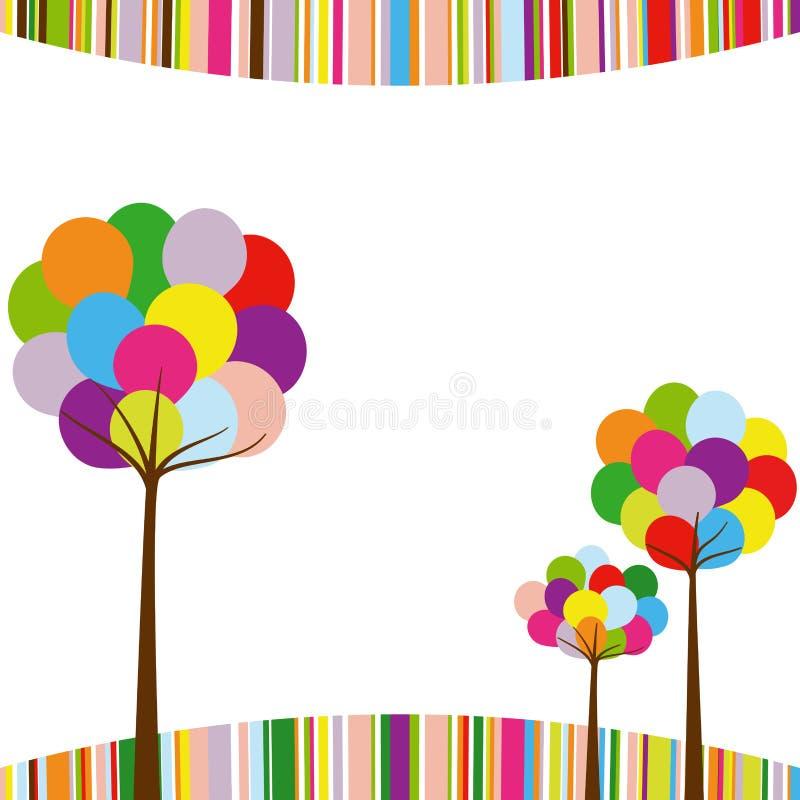 Albero astratto di colore del Rainbow di primavera illustrazione di stock