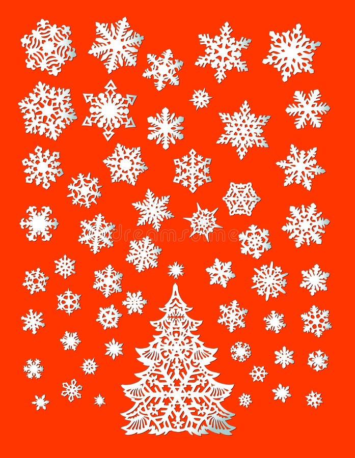 Albero astratto di natale bianco con i fiocchi di neve illustrazione vettoriale