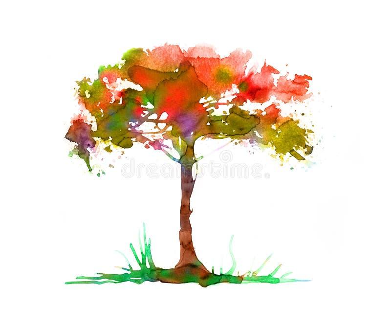 Albero astratto fatto degli effetti acquerelli, alberi nell'illustrazione del parco fotografie stock