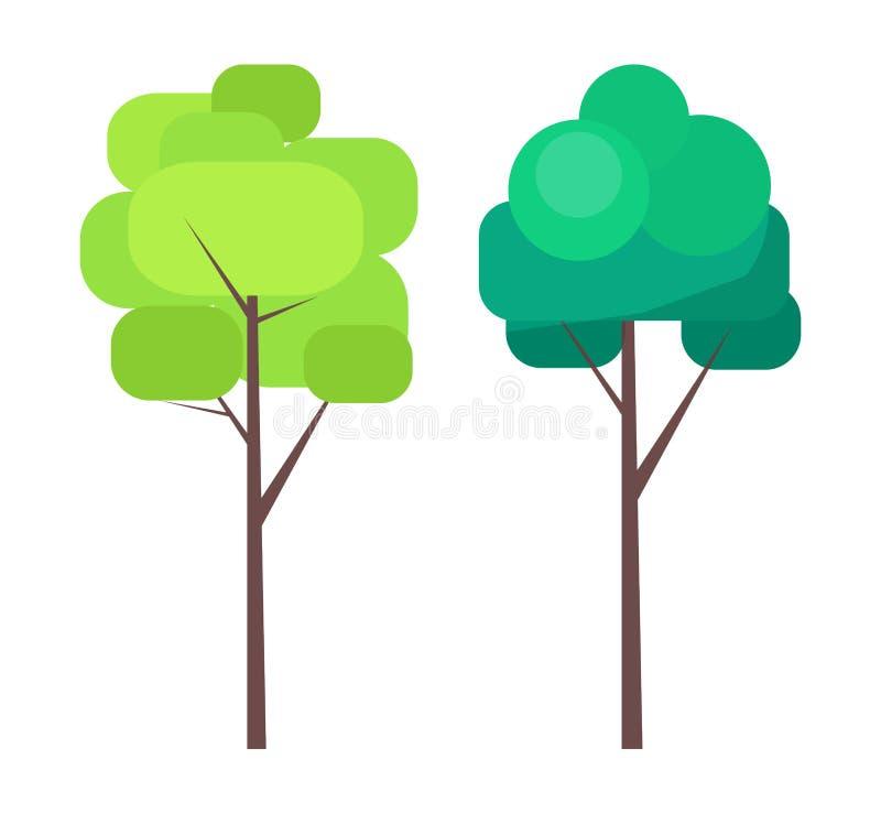 Albero astratto nei colori verdi sul vettore sottile del tronco royalty illustrazione gratis