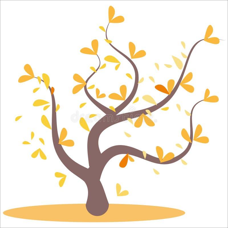 Albero astratto stilizzato di autunno Foglie sui rami, arancio Foglie gialle ed arancio sull'albero, foglie sui rami, illustrazione di stock
