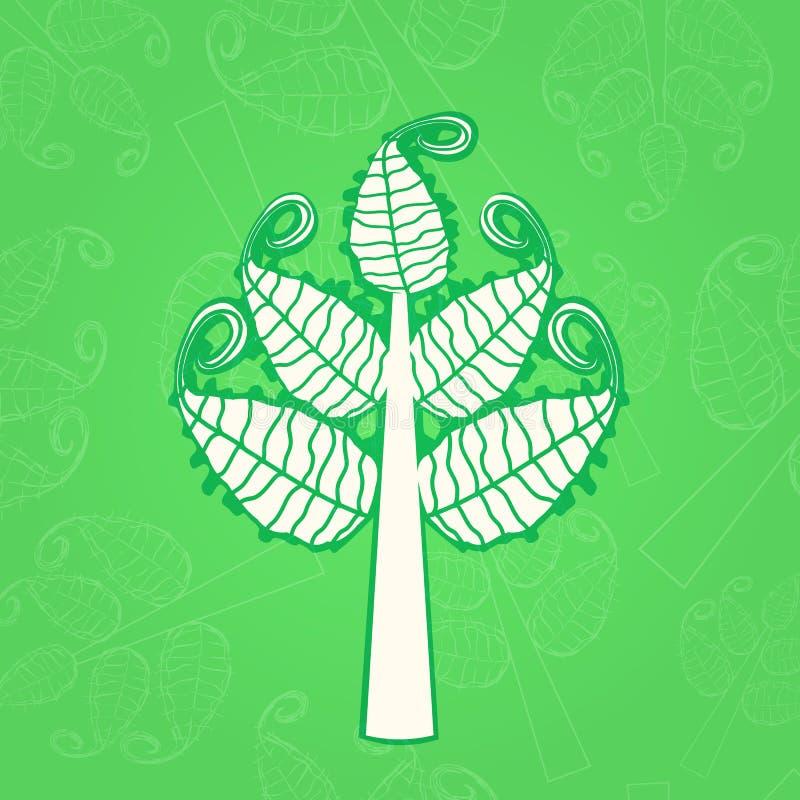 Albero bianco con le grandi foglie di turbinio illustrazione vettoriale