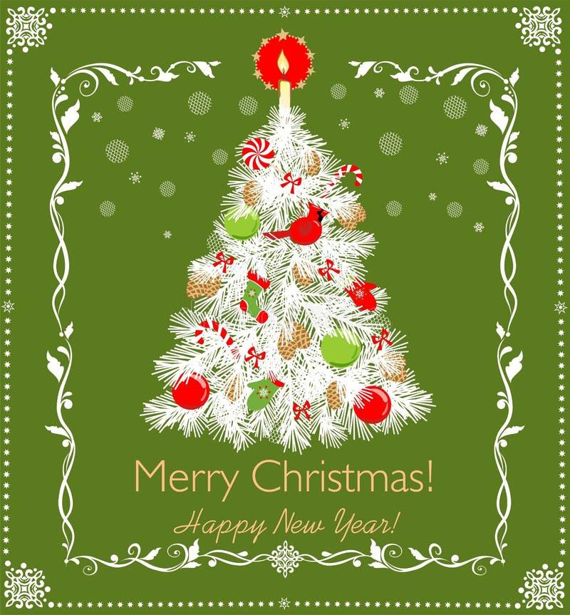 Albero bianco tagliente di carta di Natale con i giocattoli verdi rossi e candela dorata, fiocchi di neve fatti a mano di carta e illustrazione di stock