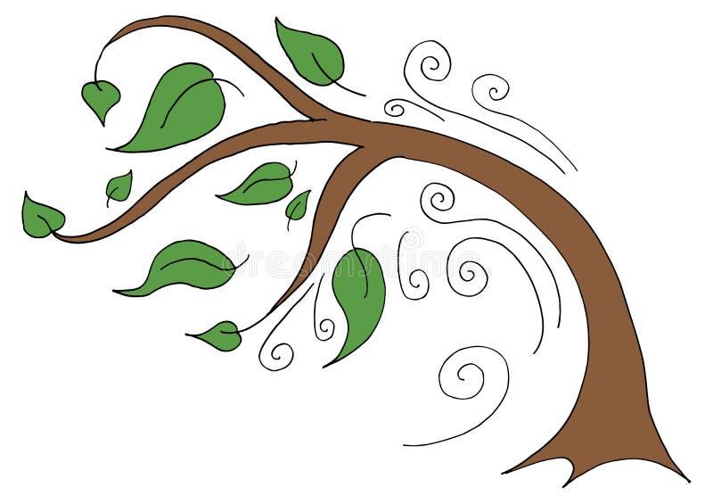 Albero che piega su Windy Day illustrazione vettoriale