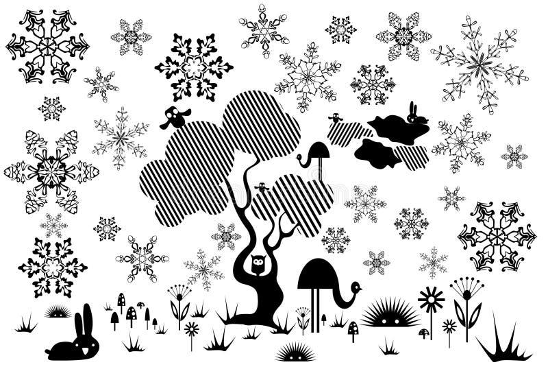 Albero con gli animali, i fiori ed i fiocchi di neve illustrazione vettoriale