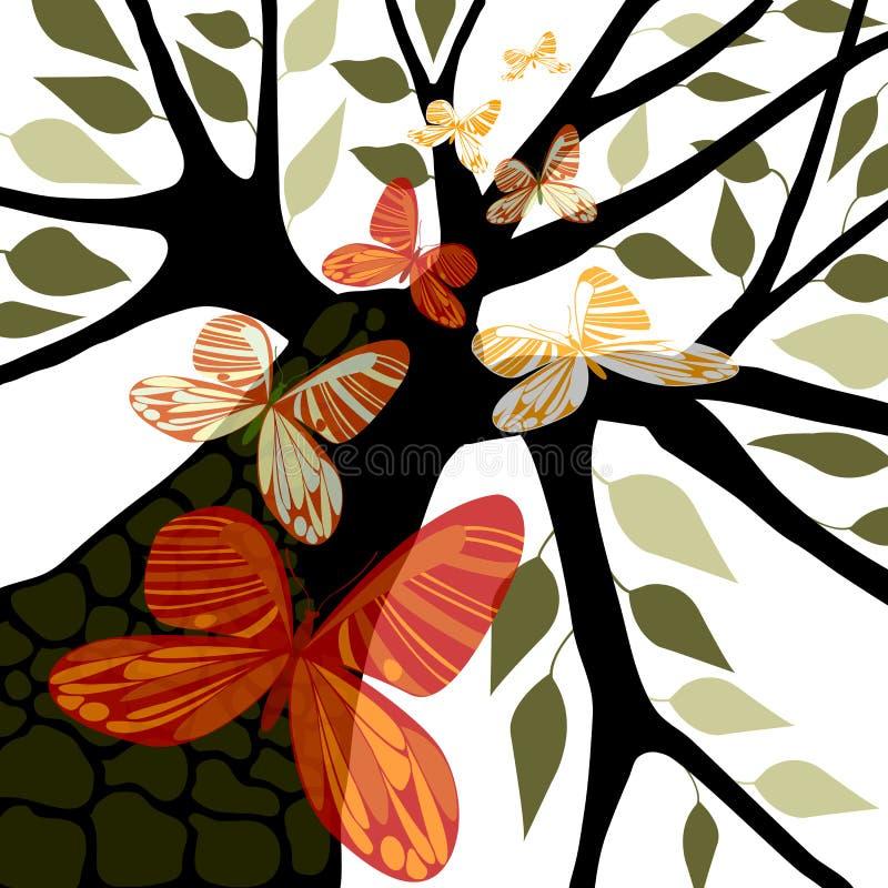 Albero con i fogli & le farfalle illustrazione di stock
