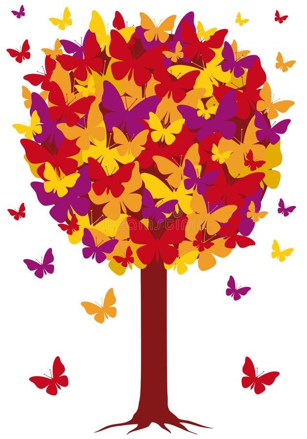 Albero con i fogli della farfalla, vettore di autunno illustrazione di stock