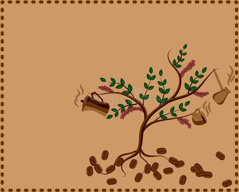 Albero con la caffettiera e la tazza royalty illustrazione gratis