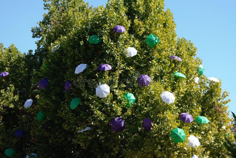 Albero con molti ombrelli colourful fotografie stock libere da diritti
