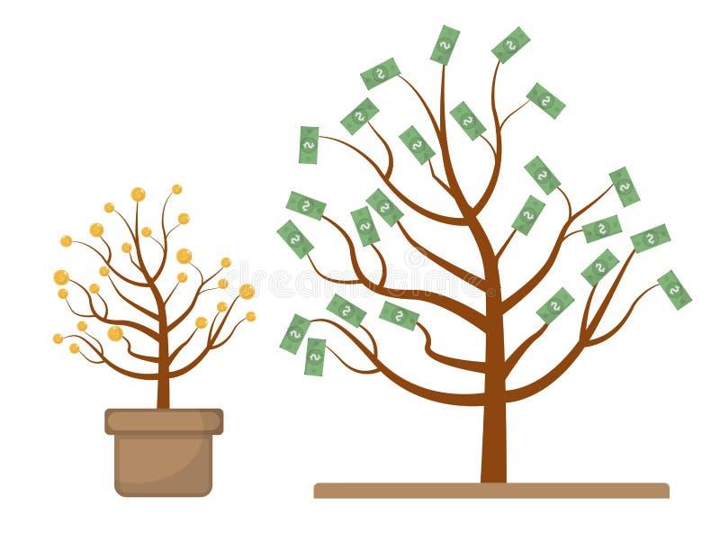 Albero con soldi Monete e dollari Evoluzione, crescita, concetto progressivo Progettazione piana, fondo bianco isolato illustrazione vettoriale