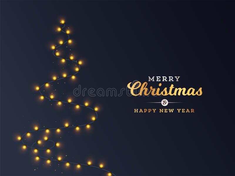 Albero creativo di Natale fatto da Lighting Garland per il Buon Natale illustrazione vettoriale