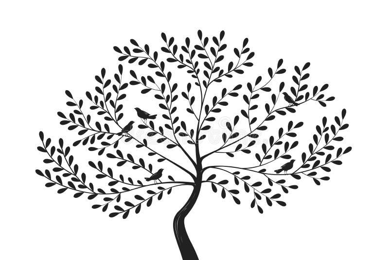 Albero decorativo con gli uccelli sui rami Illustrazione di vettore della siluetta illustrazione vettoriale