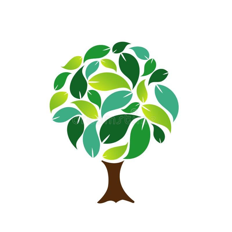 Albero decorativo con le foglie verdi illustrazione vettoriale