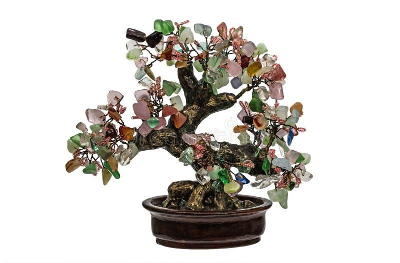 Albero decorativo dalle pietre semipreziose naturali isolate sul whi immagini stock libere da diritti