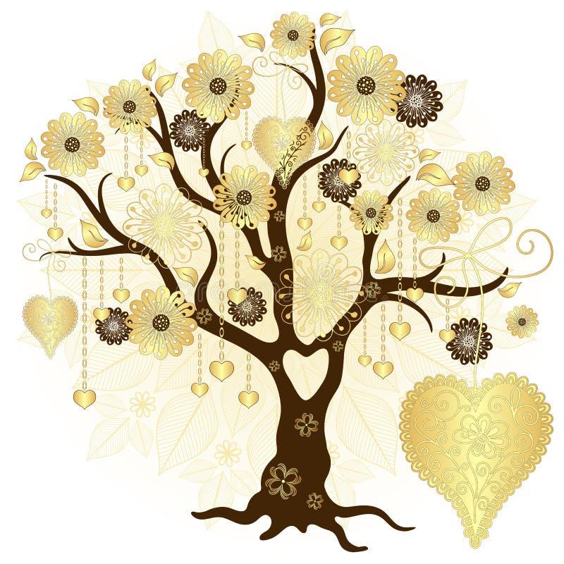 Albero decorativo del biglietto di S. Valentino dell'oro royalty illustrazione gratis