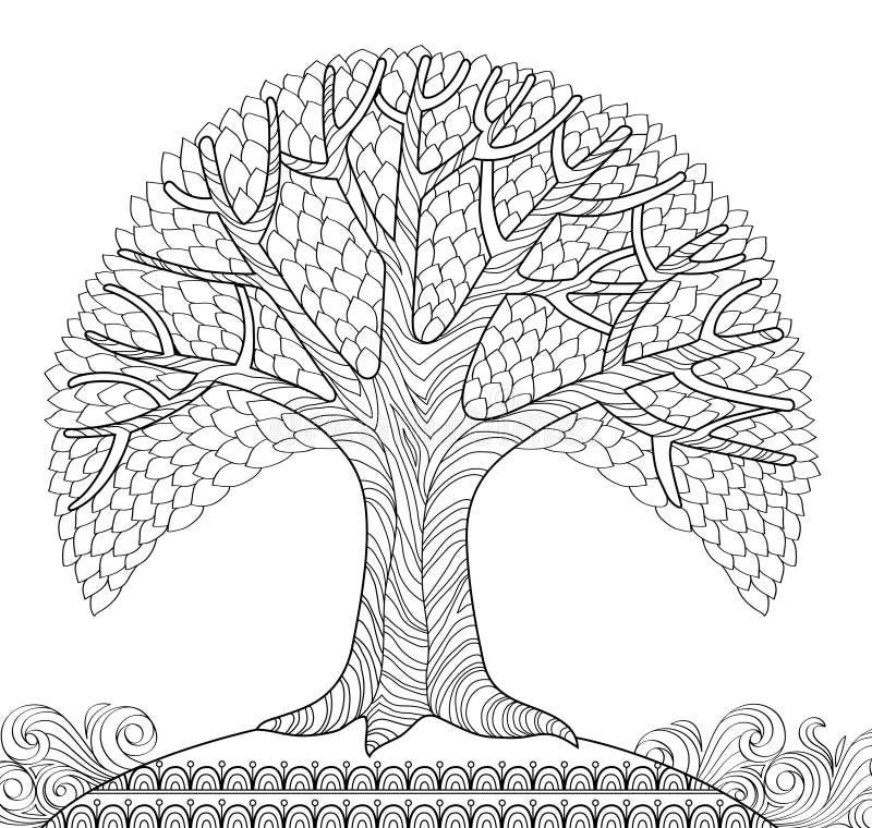 Albero decorativo Pagina antistress adulta di coloritura Scarabocchio disegnato a mano in bianco e nero per il libro da colorare illustrazione vettoriale