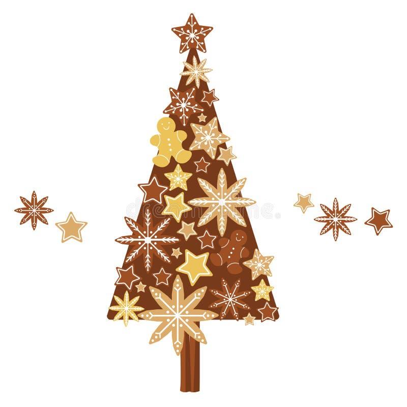 Albero dei biscotti di Natale Illustrazione di vettore illustrazione di stock