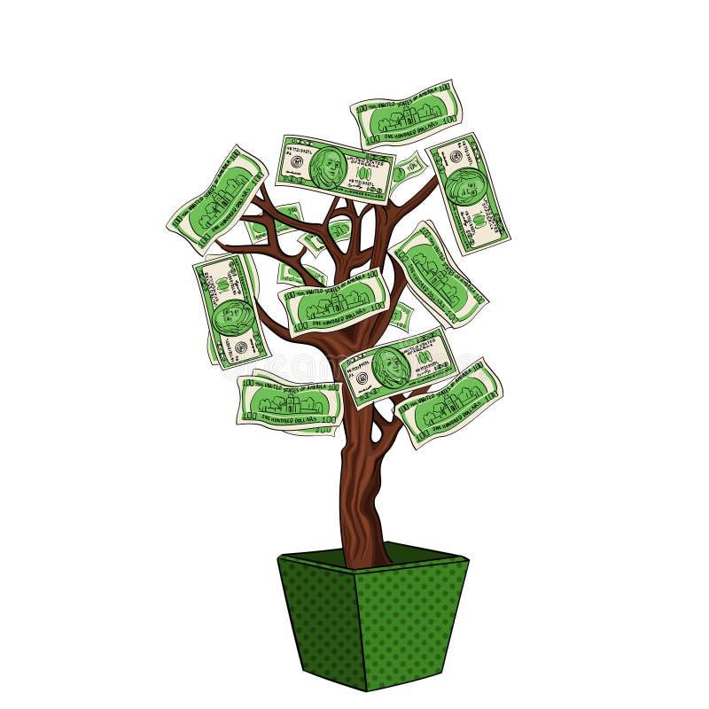 Albero dei soldi con 100 dollari Valuta sulla pianta L'affare sta sviluppandosi Oggetto sul vettore bianco del fondo illustrazione di stock