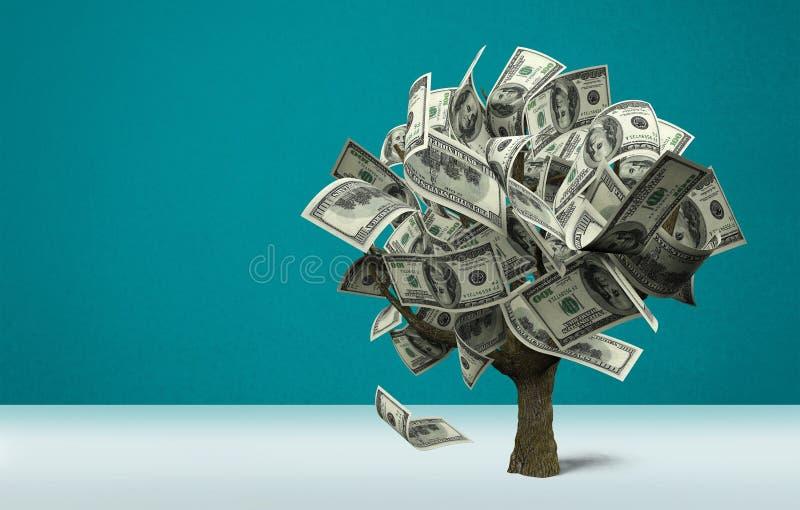 Albero dei soldi con i dollari su fondo fotografie stock libere da diritti