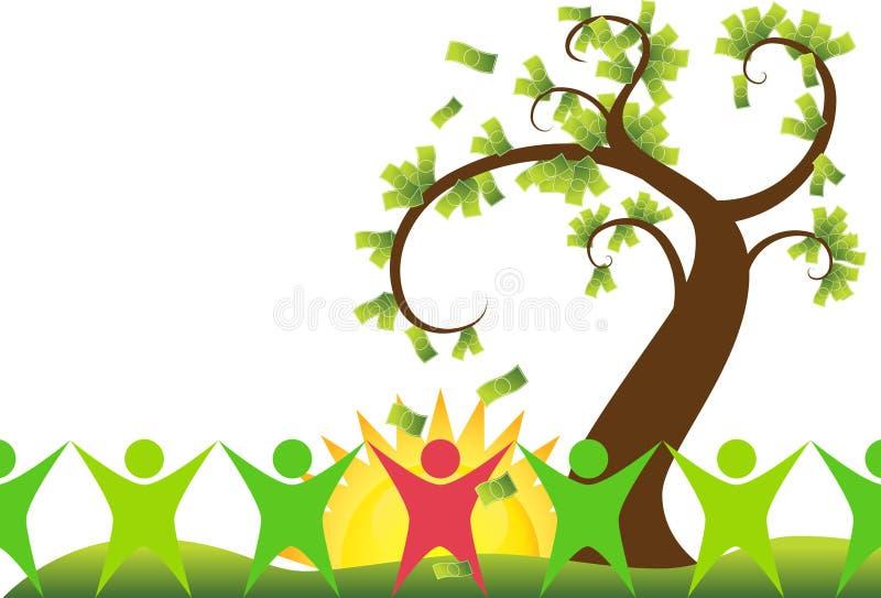 Albero dei soldi con la gente royalty illustrazione gratis