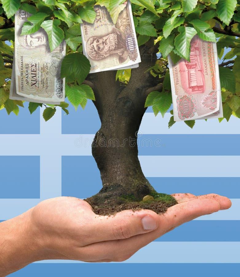 Albero dei soldi - crisi greca illustrazione di stock