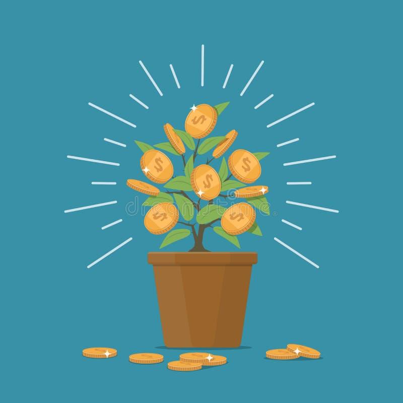 Albero dei soldi Soldi e investimento aziendale di crescita di concetto di progetto illustrazione di stock