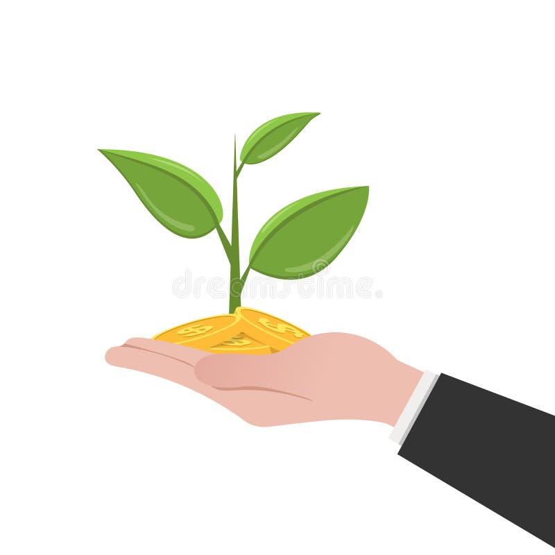 Albero dei soldi sulla mano umana Illustrazione piana isolata Priorità bassa bianca illustrazione di stock