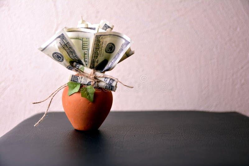 Albero dei soldi in un vaso, su un fondo bianco immagini stock