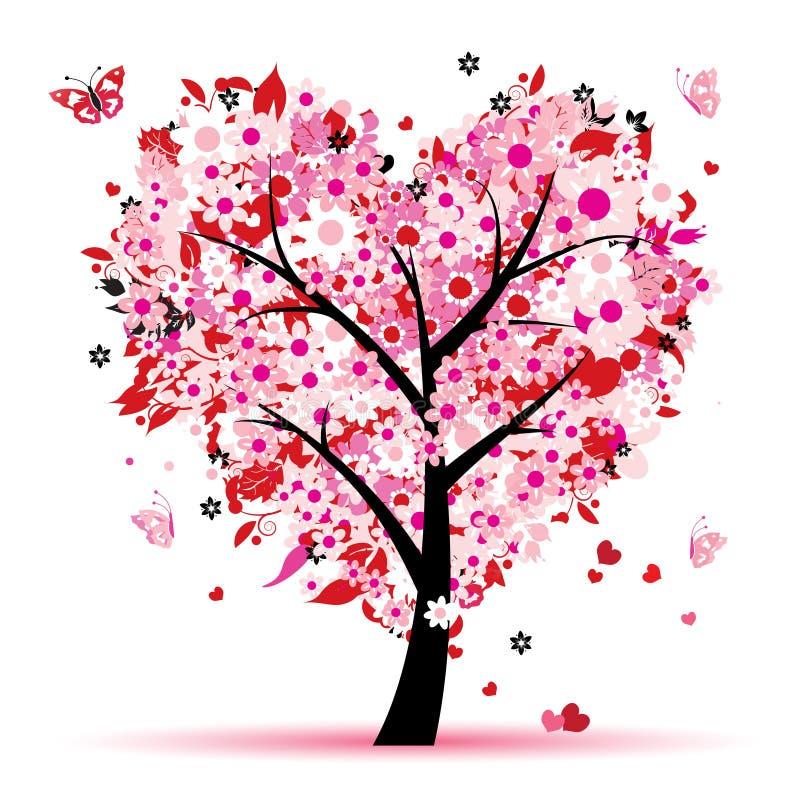 Albero del biglietto di S. Valentino, amore, foglio dai cuori illustrazione di stock