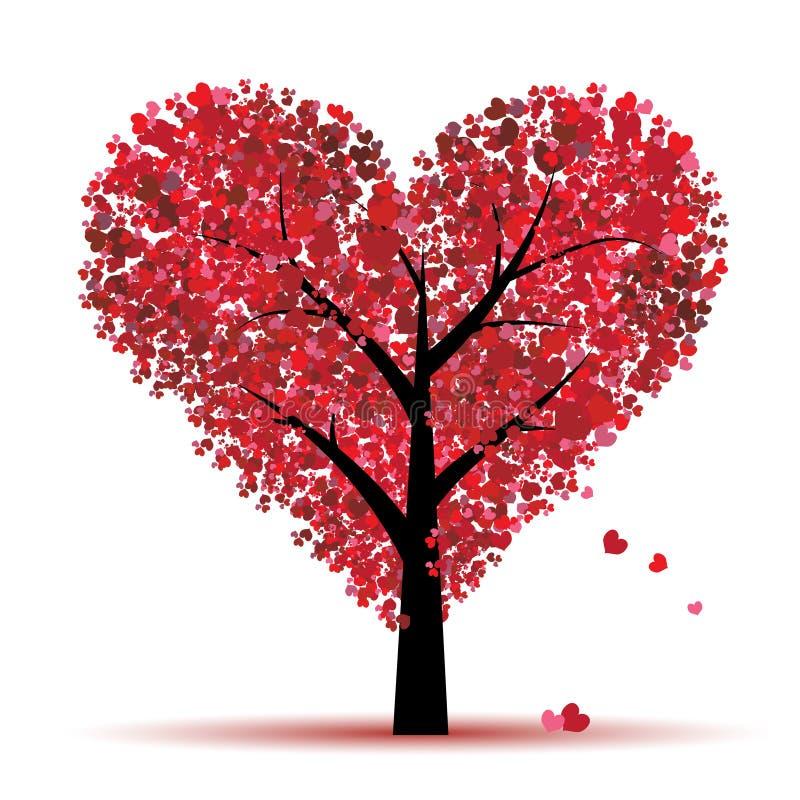 Albero del biglietto di S. Valentino, amore, foglio dai cuori illustrazione vettoriale